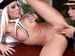 Blonde Dorothy Black and Adelle are so fucking horny in this girl-on-girl action