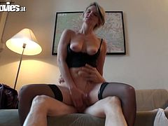 Hussy chick in sexy black stockings spreads her legs wide to feel cock deep in her shaved pussy. Be ready for exciting sex video produced by Fun Movies porn site.