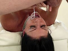 Get a load of this hot video where the kinky brunette milf India Summer deep throats a large cock until it cums all over her face.