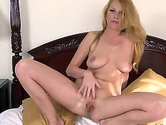Carmen Gemini stretches honey pot in bedroom