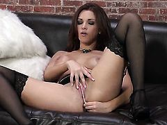 Sabrina Maree with gigantic jugs and smooth bush has some time to play with her hole