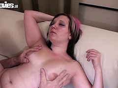 Fun Movies porn site offers you a lot of exciting sex videos. Enjoy one chubby girl which sucks dick like greedy and after enjoys her sex partner who polishes her shaved pussy with pleasure.