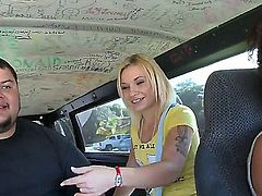 Pretty young blonde Star with natural boobies and slim sexy body in childish t-shirt gets in to bang buss and has lot of fun with fat boy on a lazy afternoon.