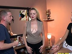Well, kinky brunette and blondie wanna work in the bar. Spoiled chicks go to a small room. These slim chicks wanna also seduce a man measuring them for uniform. So blondie boasts of her tits and lewd brunette opens wet cunt.