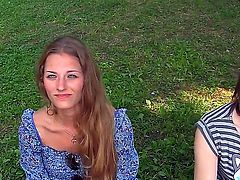 Teen babes giving their boyfriends a nice blow job and watches as he cums on her face in public
