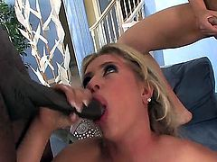 Andi Anderson is surrounded by huge cocks and all of them will realease their loads on her pretty face. She loves to give them head and handle their hard cocks. She is the best!