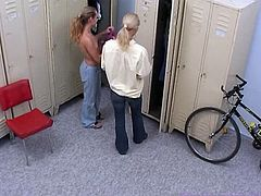 Jenny and Susana are two super horny lesbian schoolgirls. They can't wait to get home and start fingering and licking right in the locker room!