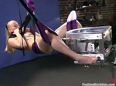 THis kinky and desirable blond siren Sharon Wild is having a good time with machine in her tight and juicy pussy. Honey loves it more than with a man!