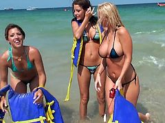 Our summer loving girls are having a great time at the seaside. They swim and play before go inside to take a shower. That shower was probably very hot because the sluts are now turned on. They go in bed and begin to fuck! They start by sucking nipples and then in a matter of no time it's off with the panties
