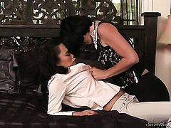 Annie Cruz is horny as hell in girl-on-girl action with Roxanne Hall