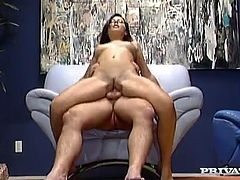 Charming brunette Penny Flame pleases some man with an awesome blowjob. Then she moves her legs wide apart and lets the dude fuck her shaved pussy in missionary position.