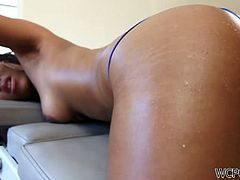 First, Leilan Leeanne got her tight asshole fingered and when it was oily enough she took his huge black schlong in the tight hole!