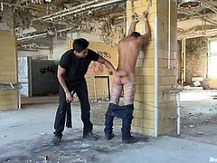 It's gay action in public and of the BDSM kind! Three dudes are tied and bounded to be spanked and to receive blowjobs from their dominators.