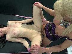 The curly-haired girl Bonnie Day is going to get her asshole and pussy fucked in diverse positions by the elegant and experienced shemale Joanna Jet