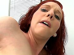 Ginger Maxx is one redhead babe who loves to do crazy things and this time she wanted to shove the dildo in her ass. But when her boyfriend comes she starts sucking his hard cock.