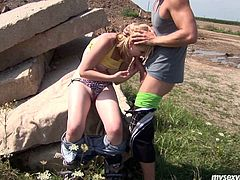 Busty blond chick Cindy is oversexed porn slut. She strips outdoor flashing perky tits and shaved pussy. Cindy gets her snatch polished actively by thirsty dude. Then she gives him awesome deepthroat blowjob.