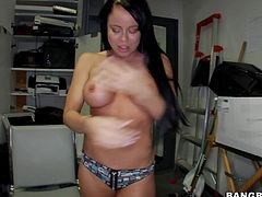 One of a kind black haired milf Nikiki Delano with perfectly shaped fit body and firm hooters in sexy underwear and tight jeans gets naked and naughty at the interview