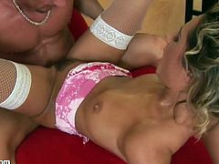 Slutty Blonde Sucks And Fucks A Big Cock With Stockings On