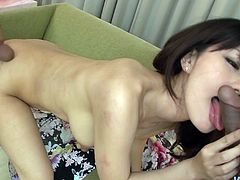 Hot tempered Japanese milf kneels down to give double blowjob to 2 aroused wankers before she switches to doggy pose to get her beaver pounded from behind while giving blowjob in MMF sex video by Jav HD.