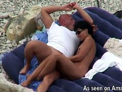 Looking for reality sex scenes? Make sure to check out this steamy video that captures two sex greedy adults making out in sideways position on oversized air matrass at the beach.