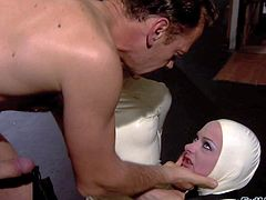 Katsuni and her friend Belladonna enjoy in being a part of a hot and arousing group sex in latex costumes with Nacho Vidal and Rocco Siffredi in the same room
