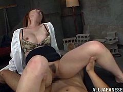Sexy Japanese office girl sucks two dicks with pleasure. Then she gets her tits and pussy licked. Later on she gets fucked nice and deep in her tight vagina.