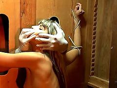 Here is a very strange action that made me feel so hot and hard when I saw it for the first time. Beautiful enslaved hottie got twat and ass fingered by guys hands from gloryhole.