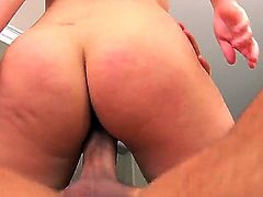 Smoking hot brunette chick Gabriella Romano bends over for a steamy doggy pounding