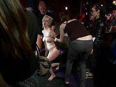 Check out this amazing bondage scene with this kinky blonde sex slave as she gets fucked hard by some sadist fuckers, check it out!