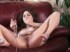 Hot and handsome brunette Shyla Jennings is opening her legs wide and pleasing her shaved young cunt with vibrator toys until squirts.