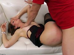 Slutty brunette spreads her legs wide to let her horny lover fuck her in missionary pose. She lies on her side and gets her tight asshole fucked hard like never before.