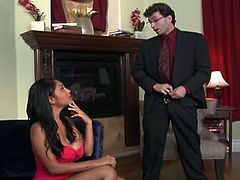 Desi sex bomb Priya Anjali Rai loves sucking her white partner's huge thick dick. She sits on her knees blowing that huge tool and shows off her voluptuous body all naked.