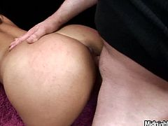 Mind taking brunette bombshell stands in doggy style getting her pussy drilled from behind while her mouth is busy giving blowjob. Later she switches to cowgirl style keeping sucking a hard penis in steamy MMF sex video by Pornstar.