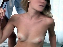 This slutty chick with a nice set of small tits knows what she wants. She spreads her legs wide to let him fuck her swollen pussy in missionary position. She bends over for doggy style pounding and then she pleases him with a blowjob.
