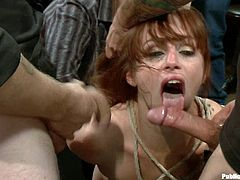 A busty bitch gets tied up and then she's abused by a group of sadist fuckers that force her to cum and shoot the jizz in her mouth.