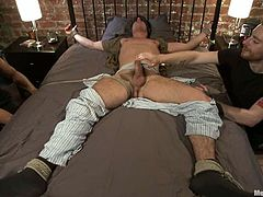 Dark-haired gay Jett Jax allows his horny buddy to tie him up and play with his schlong. Then the sodomite rubs Jett's ass passionately and rips it apart with a dildo.