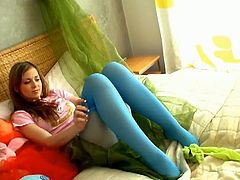 Spunky Bee is a cute teen, who has a stockings fetish! She has lots of pairs and changes them because she is horny as fuck!