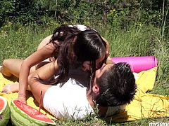 Kinky brunette teen gal Tamara is pale skinned porn actress. She fucks hard outdoor in a public park. Tamara rides dick in cowgirl position. Then she is nailed hard in a missionary position. Exciting free sex video presented by My Sexy Kittens studio.