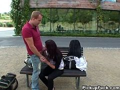 She is provocative brunette bitch who loves public attention. So she sucks dick on a bench near the mall. Then the couple goes to the park where she strips.