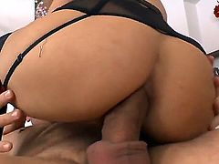 Black haired hooker Kristall Rush with natural boobies in lingerie gives deep throat to tattooed fucked Omar Galanti and gets his entire meaty cock up her firm ass in close up.