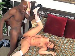 Hot bonde fucks a black guy in an interracial action and gets her tight pussy pounded