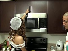 Pretty house keeper teen Aurora Monroe cleaning kitchen with her sexy clothes on. she teases her boss with her awesome ass then grabbing big cock and taking it inside her little mouth. sexy teen house keeper Aurora Monroe bending over and getting huge cock in her tiny pussy. she gets fucked deep and her wet pussy pounded hard. Newbie teen Aurora Monroe fucking in front of camera first time and sucking and swallowing until cleaning all.