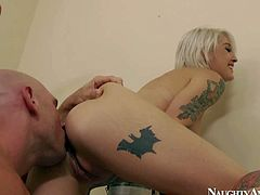 Alternative blonde Kleio Valentein with tattooed sexy body turns man on and takes his cock. Tattooed hottie with perfect fake tits gets her snatch fucked by horny handyman. She loves his prick in her vagina.