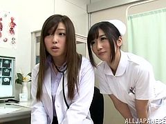 Two smoking hot and amazing nurses get naked with their patient and start licking her muff. Japanese lesbian threesome is so thrilling to watch!