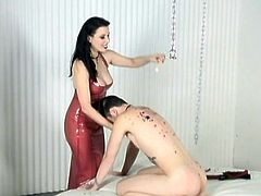 Submissive slave was fucked in the bedroom
