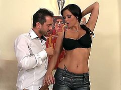 Dude caresses nice tits of horny girl Sheila Grant. She gets aroused from getting caressed before starting to give unforgettable fellatio and titjob to the fellow.