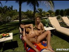 Alexa May and Alicia show what nasty girls they are. They give a blowjob to some guy on the poolside and then fuck him by turns on a beach chair.