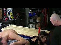 The bar is closed. Only two lucky dudes win a chance to polish the wet cunt of nasty Indian whore. Appetizing horny chick with slim body bends over to give a solid blowjob for sperm. The other dude puts on gloves and rubs her wet pussy. Missionary fuck is a great delight for dick hungry and voracious chick.