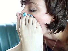 Turned on lusty brunette lesbians Belladonna and Dana DeArmond with long sexy legs and great oral skills get naked and have amazing foot fetish action on in the car.