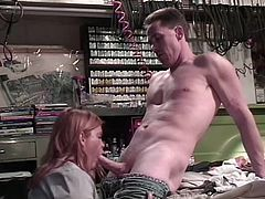 Sunset needs to have her car fixes so she heads over to see her local mechanic. He says he will work on her car first if she lets him put his cock in her mouth. She sucks him off sexily until he blows his sticky cum all over her lips.